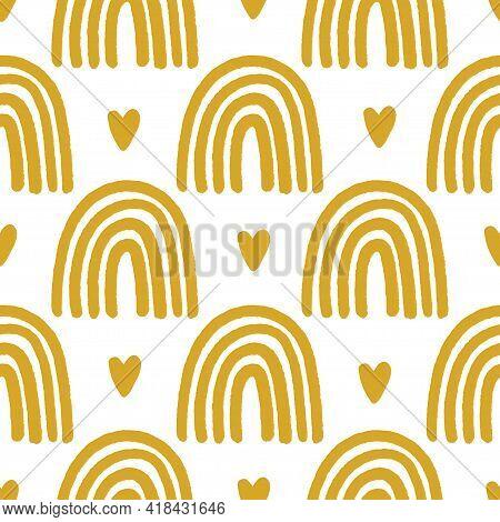 Magic Seamless Pattern With Modern Rainbows. Hand Drawn Boho Nursery Rainbow Illustration On Yellow