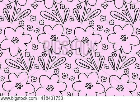 Flower Doodle Seamless Pattern Vector Background. Simple Childish Naive Hand Drawn Floral Pink Backd