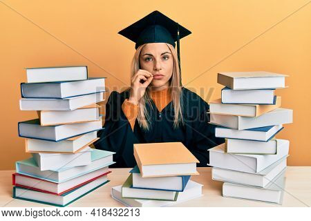 Young caucasian woman wearing graduation ceremony robe sitting on the table mouth and lips shut as zip with fingers. secret and silent, taboo talking