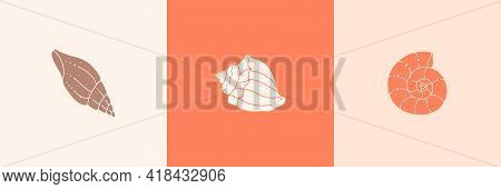 Set Of Seashells Outline Icons In A Trendy Minimal Style. Vector Illustration Of A Conch, Snail, Sca