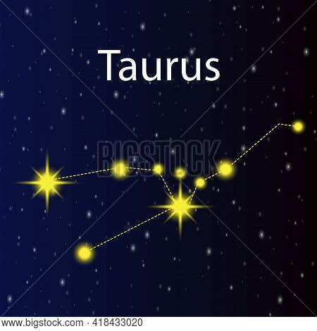 Constellation Taurus. Blue Background. Moon Magic. Vector Illustration. Stock Image. Eps 10.