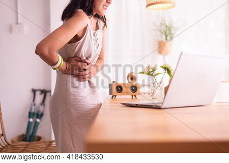 Woman Suffering From Appendicitis Problems,hands Squeezing Belly,abdominal Pain,appendix