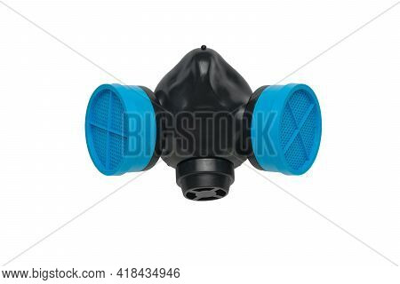 Gas Mask With Blue Filters On A Black Background. Respiratory Protection.