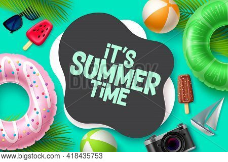 Summer Time Vector Template Design. It's Summer Time In Blank Space For Text With Tropical Season El