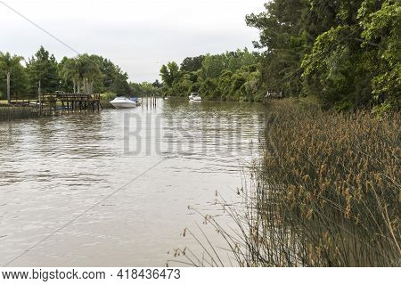 Stream In The Tigre Delta, A Quiet And Picturesque Area Of The Province Of Buenos Aires, Argentina.