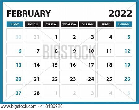 February 2022 Calendar Printable, Calendar 2022, Planner Design, Desk Calendar Template, Wall Calend