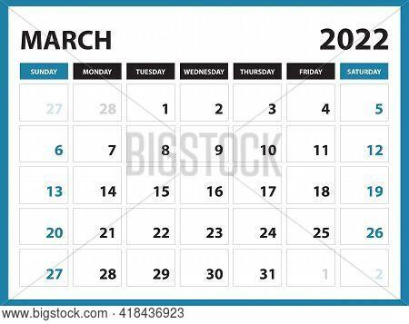 March 2022 Calendar Printable, Calendar 2022, Planner Design, Desk Calendar Template, Wall Calendar,