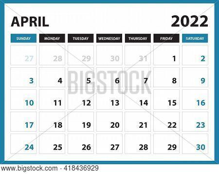 April 2022 Calendar Printable, Calendar 2022, Planner Design, Desk Calendar Template, Wall Calendar,