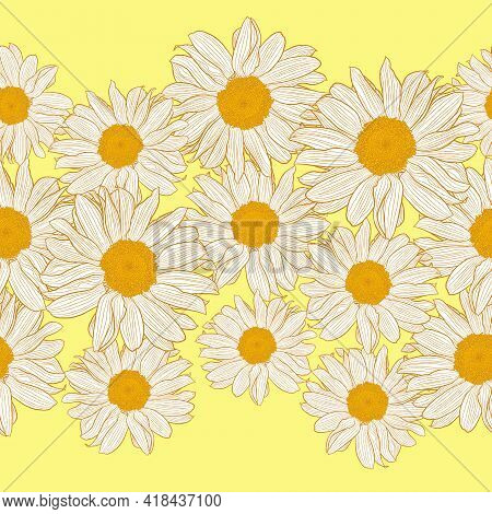 Vector Seamless Border Of Orange And White Chamomile Flowers On Light Yellow Background. Decorative