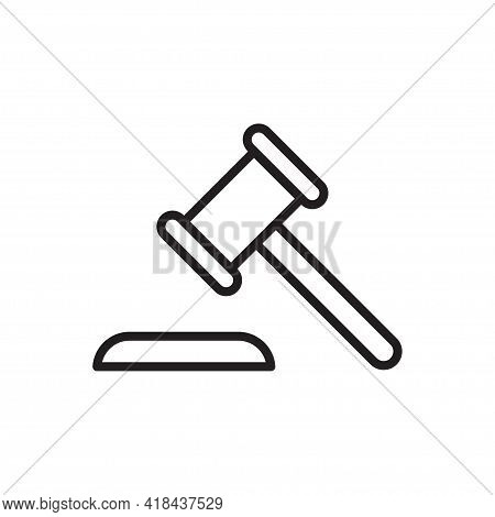 Security, Auction  Outline Icon Vector Hammer Court, Judge Gavel Icon For Graphic Design, Logo, Web