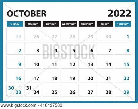 October 2022 Calendar Printable, Calendar 2022, Planner Design, Desk Calendar Template, Wall Calenda