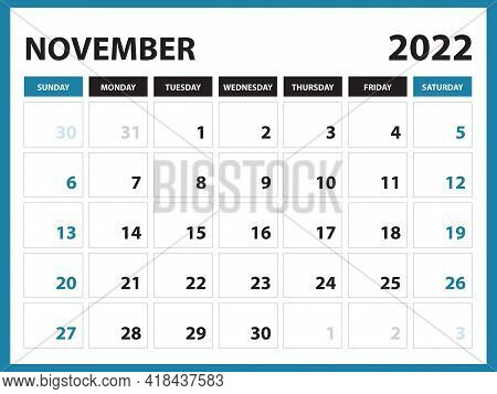 November 2022 Calendar Printable, Calendar 2022, Planner Design, Desk Calendar Template, Wall Calend