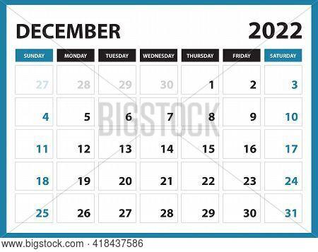 December 2022 Calendar Printable, Calendar 2022, Planner Design, Desk Calendar Template, Wall Calend