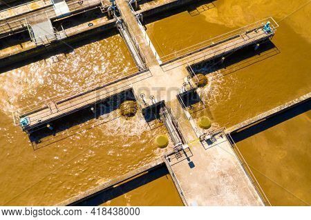 Aerial view to sewage treatment plant. Grey water recycling.