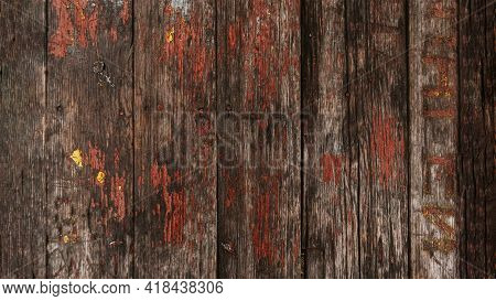 Brown Wood Texture With Cracked Paint Residues.abstract Background, Blank Template.rustic Weathered