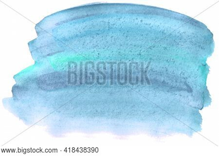 Abstract Aquarelle Color Wet Brush Paint Stroke Striped Element For Print. Colorful Watercolor Blue