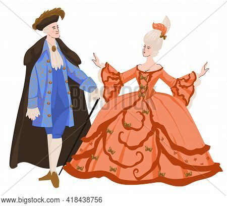 Noble Man And Woman At Ball In Fancy Clothing