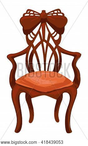 Retro Old Furniture, Antique Chair With Carvings