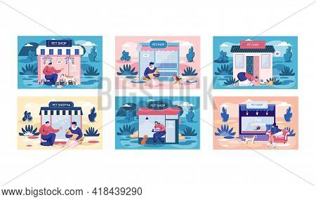 Pet Shop Scenes Set, Awning With Domestic Animals Accessories, Store Indoors, Veterinarian Market. P
