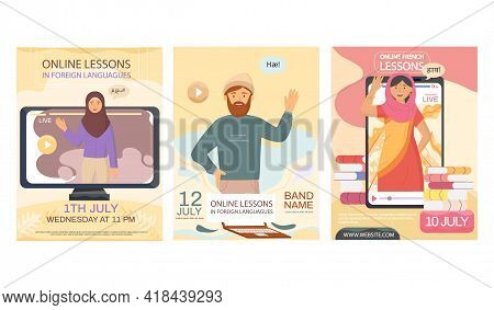 Set Of Illustrations About Speaking Practice. Online Lesson In Foreign Languages Concept. Learning C