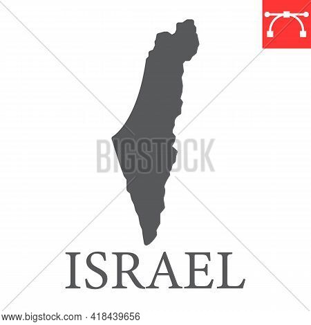 Map Of Israel Glyph Icon, Country And Travel, Israel Map Vector Icon, Vector Graphics, Editable Stro