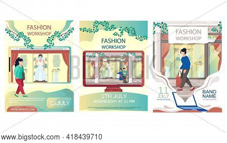 Set Of Illustrations About Bridal Salon. People Walk Next To Boutique With Wedding Dress Behind Glas