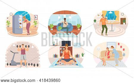 Set Of Illustrations About People Having Healthy And Unhealthy Lifestyle. Habits Of Characters Affec