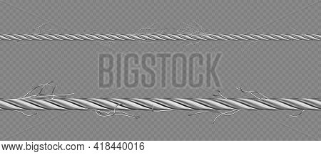 Metal Cable, Steel Twisted Twine With Torn Fibers. Old Broken Iron Rope With Break Threads. Vector R