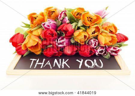 Bunch Of Tulips With Blackboard: Thank You