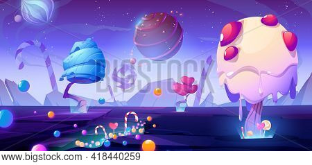 Candy Planet Cartoon Poster With Fantasy Alien Trees And Sweets. Magic Unusual Nature Landscape For