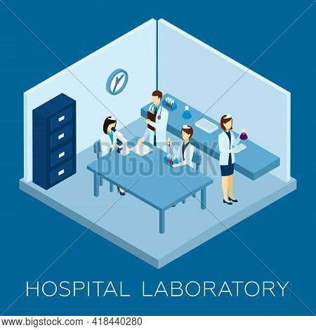 Hospital Laboratory Concept With Isometric Doctor And Medical Personnel Silhouettes Vector Illustrat