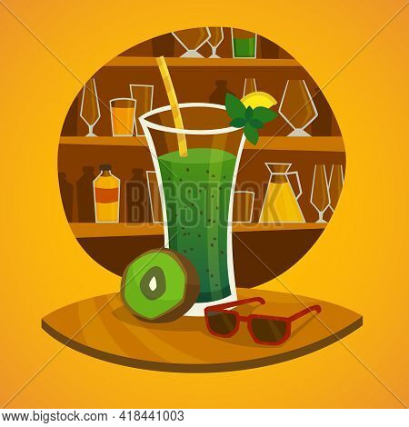 Juice Bar Concept With Glass Of Kiwi Fresh Juice  And Sunglasses On Table In  Foreground  Vector Ill