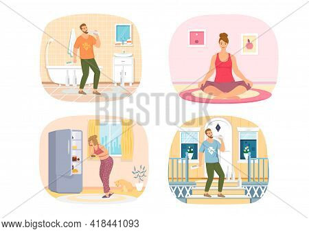 Set Of Illustrations About Human Habits. Yoga, Proper And Poor Nutrition, Alcohol Drinking. Changes