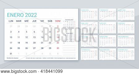 2022 Calendar. Spanish Planner Template. Week Starts Monday. Vector. Calender Layout With 12 Month.