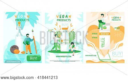 Set Of Illustrations About Vegan Products Shopping Website Concept Poster. Healthy Lifestyle And Pro