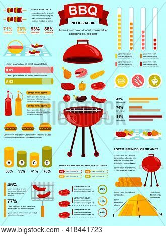 Bbq Party Banner With Infographic Elements. Barbecue Poster Template With Flowchart, Data Visualizat