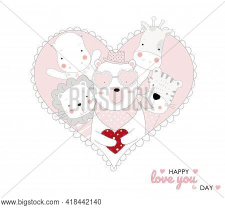 The Cute Baby Character Animal Hand Drawn Cartoon Style