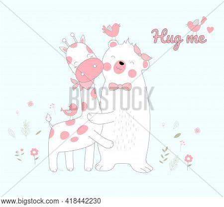 Hand Drawn Style White Bear And Giraffe Happiness