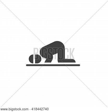 Muslim Prayer Vector Icon. Filled Flat Sign For Mobile Concept And Web Design. Islamic Prayer Glyph