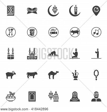 Ramadan Kareem Vector Icons Set, Modern Solid Symbol Collection, Filled Style Pictogram Pack. Signs,