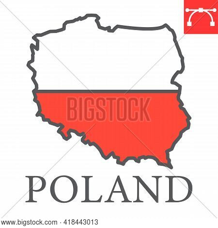 Map Of Poland Color Line Icon, Country And Travel, Poland Map Flag Vector Icon, Vector Graphics, Edi