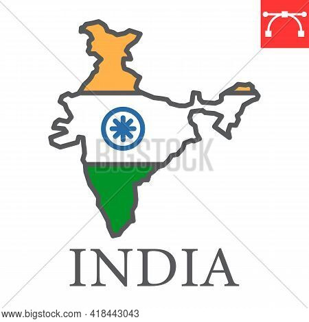 Map Of India Color Line Icon, Country And Travel, India Map Flag Vector Icon, Vector Graphics, Edita