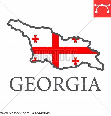 Map Of Georgia Color Line Icon, Country And Travel, Georgia Country Map Flag Vector Icon, Vector Gra