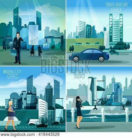Daylight Modern City Business Center Street View 4 Flat Icons Square Composition Banner Abstract Iso