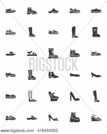 Shoe Styles Vector Icons Set, Modern Solid Symbol Collection, Filled Style Pictogram Pack. Signs, Lo
