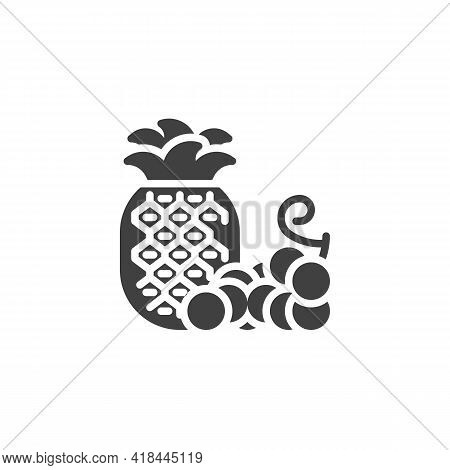 Pineapple And Grapes Vector Icon. Filled Flat Sign For Mobile Concept And Web Design. Fresh Fruit, G