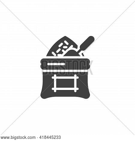 Bag Of Rice Vector Icon. Filled Flat Sign For Mobile Concept And Web Design. Rice Sack Glyph Icon. S