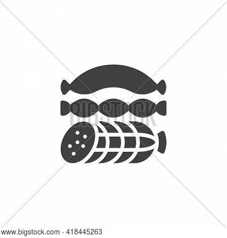 Sausages Vector Icon. Filled Flat Sign For Mobile Concept And Web Design. Salami And Sausage Glyph I