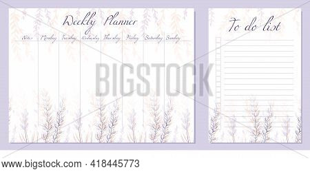 Set Of Day Organization Templates With Sketch Flowers And And Herbs. Weekly Planner And To Do List.