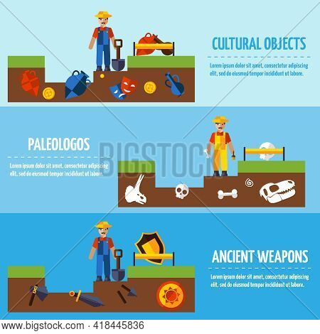 Flat  Color Horizontal  Archeology Banners Set   With People And Different Kinds Of Archaeological F